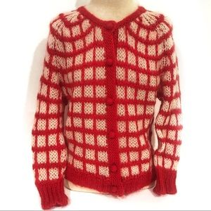 ✨Host Pick✨Vintage Lucky Brand Red Fuzzy Cardigan